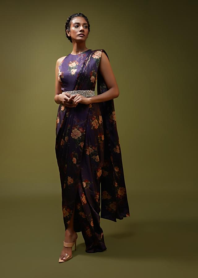 Jewel Purple Saree Gown In Floral Printed Satin With A Cowl Draped Pallu And Moti Embroidered Belt Online - Kalki Fashion