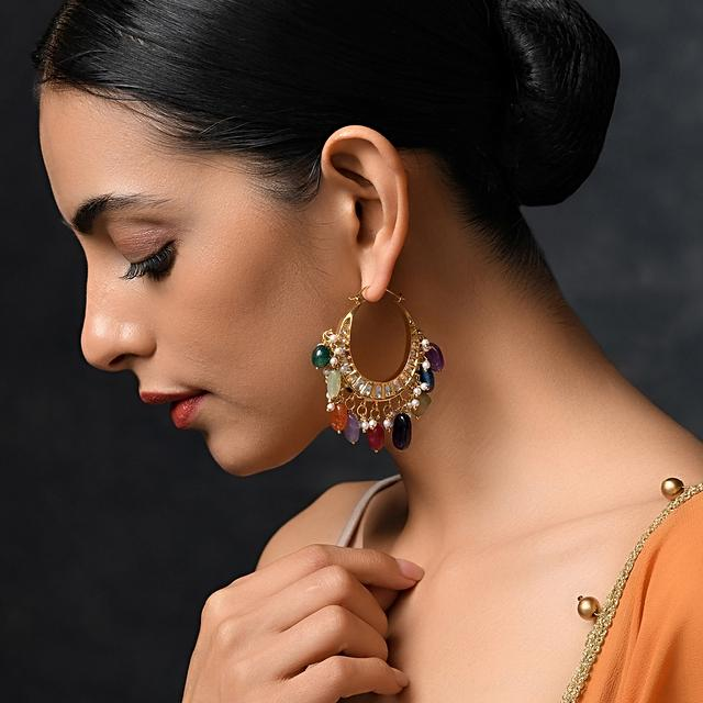 Gold Plated Chandbali Earrings With Kundan And Dangling Multicolored Stones By Paisley Pop