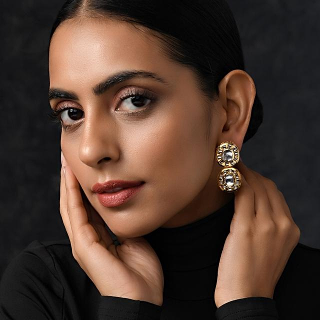 Gold Plated Earrings With Polki Hand Crafted In A Double Stacked Design By Paisley Pop