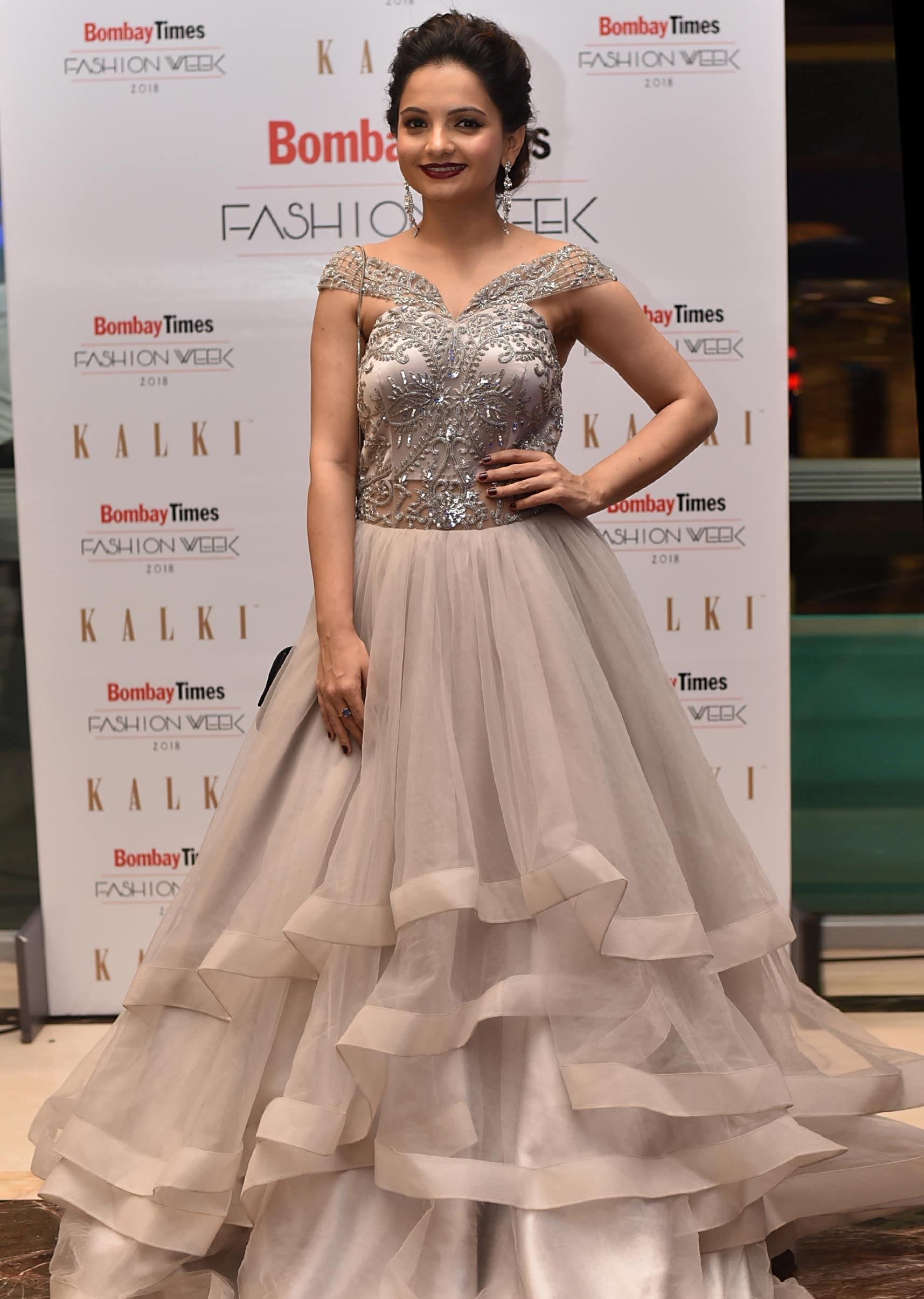 4e8bcd500e00 Stone grey layered gown in off shoulder embroidered bodice only on Kalki