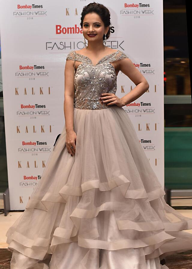 Stone Grey Layered Gown In Off Shoulder Embroidered Bodice Online - Kalki Fashion