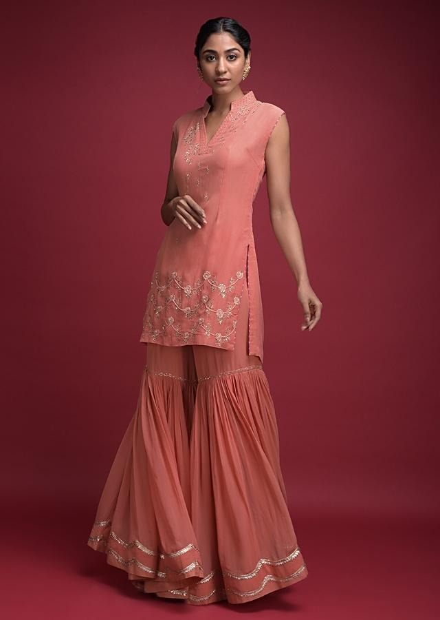 Jovial Peach Sharara Suit In Georgette With Thread And Sequins Embroidered Floral Pattern Online - Kalki Fashion
