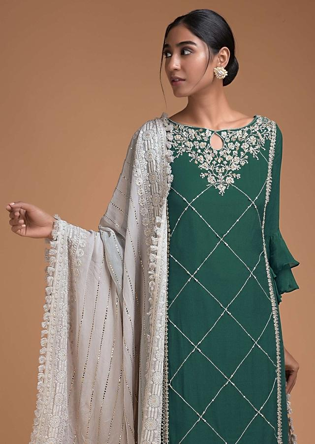 Jungle Green Sharara Suit With Cloud Grey Embellished Net Layer On The Hem Online - Kalki Fashion