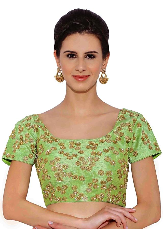 Green Blouse In Raw Silk With Sequin Embroidery Online - Kalki Fashion