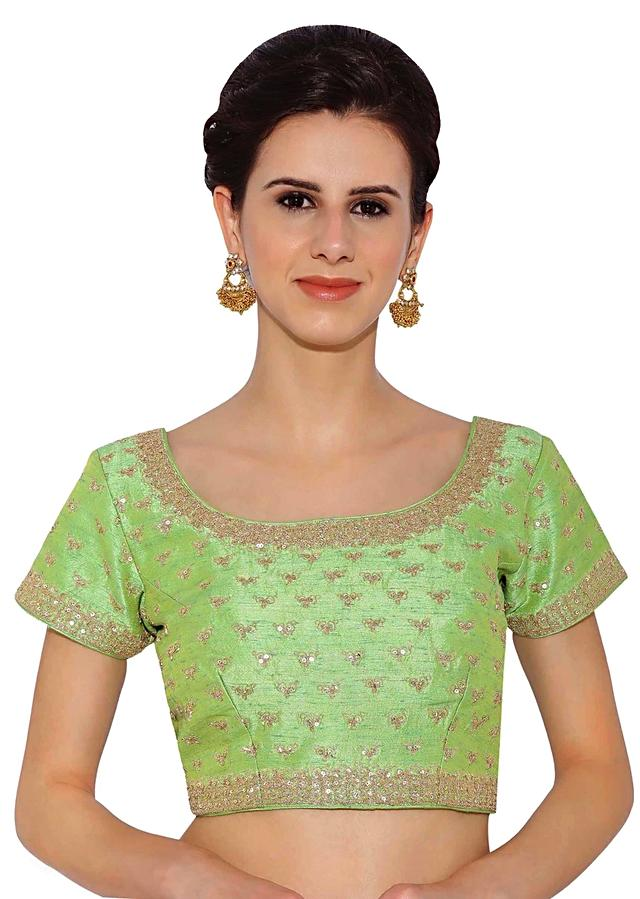 Parrot Green Blouse In Raw Silk With Sequins Embroidery Online - Kalki Fashion