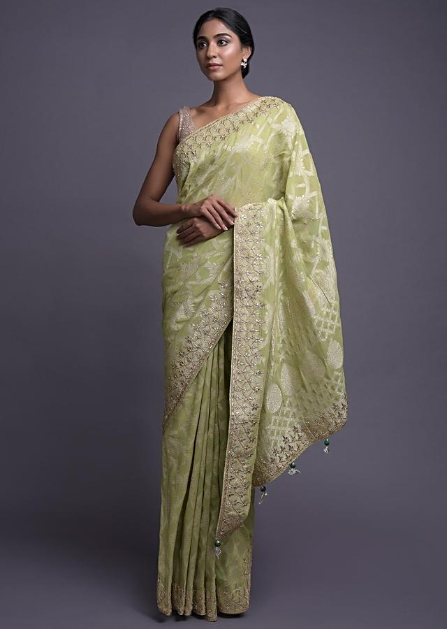 Key Lime Green Saree In Georgette With Weaved Pattern And Gotta Work Online - Kalki Fashion