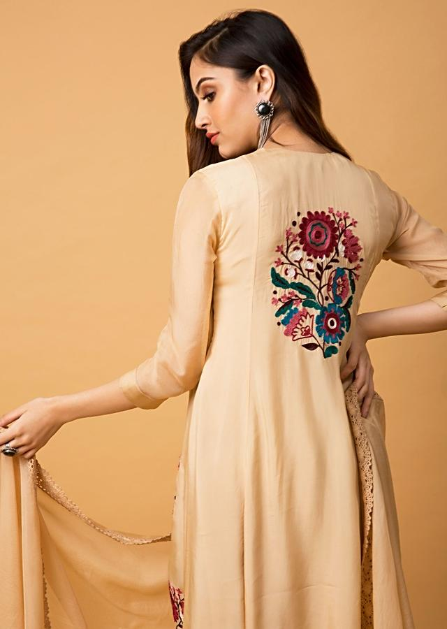 Khaki Beige A Line Suit With Colorful Aari Thread Embroidered Floral Motifs Online - Kalki Fashion