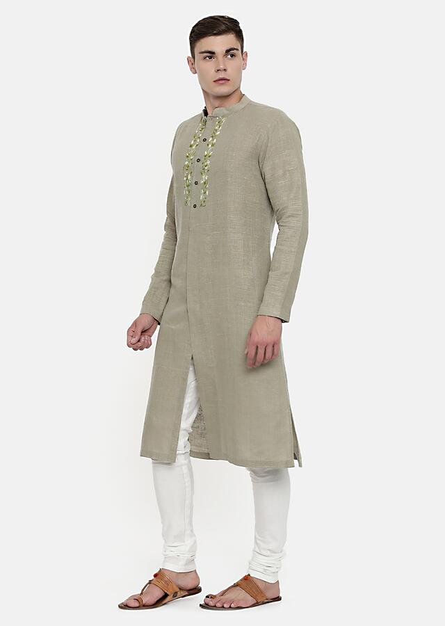 Khaki Beige Kurta In Silk Blend With Subtle Embroidery Details On The Front Yoke By Mayank Modi