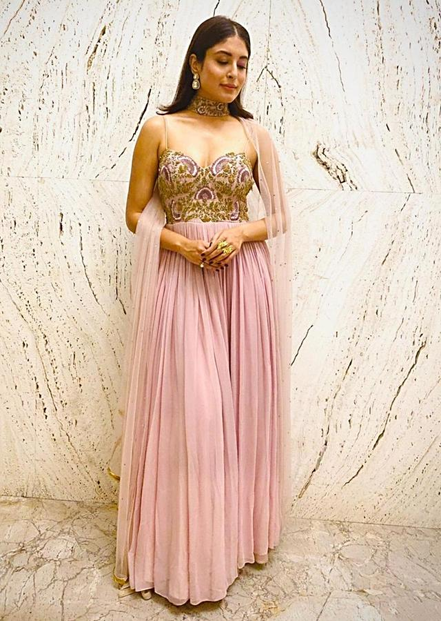 Kritika Kamra In Kalki Lilac Anarkali Suit With Resham Embroidery In Floral Pattern On The Bodice