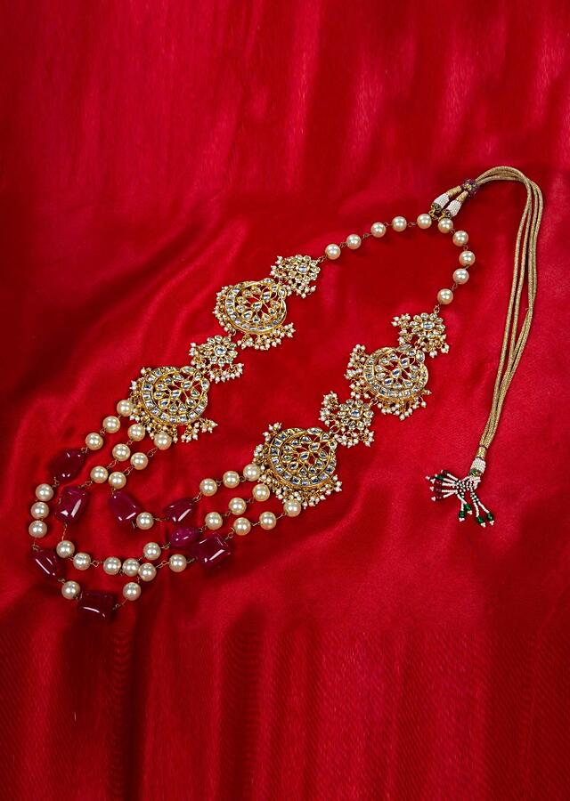 Kundan and moti studded long necklace with multi layer chain in cream pearls and pink marble bead only on kalki