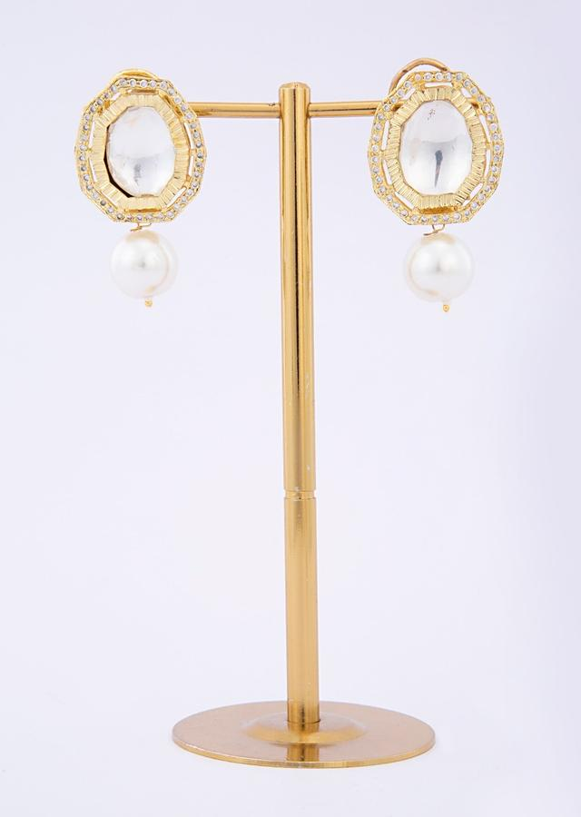 Kundan studded cluster earring with pearl drop only on Kalki
