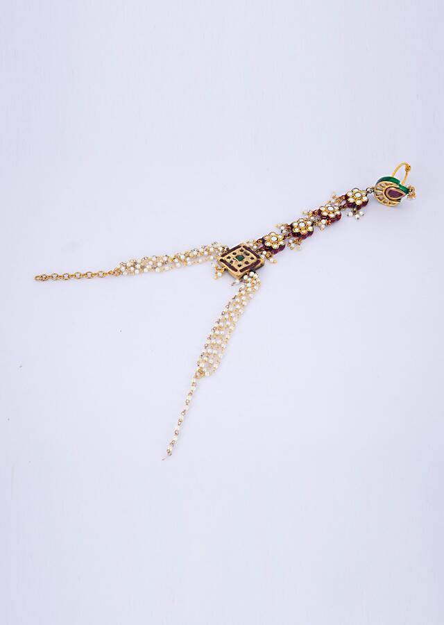 Kundan studded ring with attached bracelet in multi layer nano moti strings only on Kalki