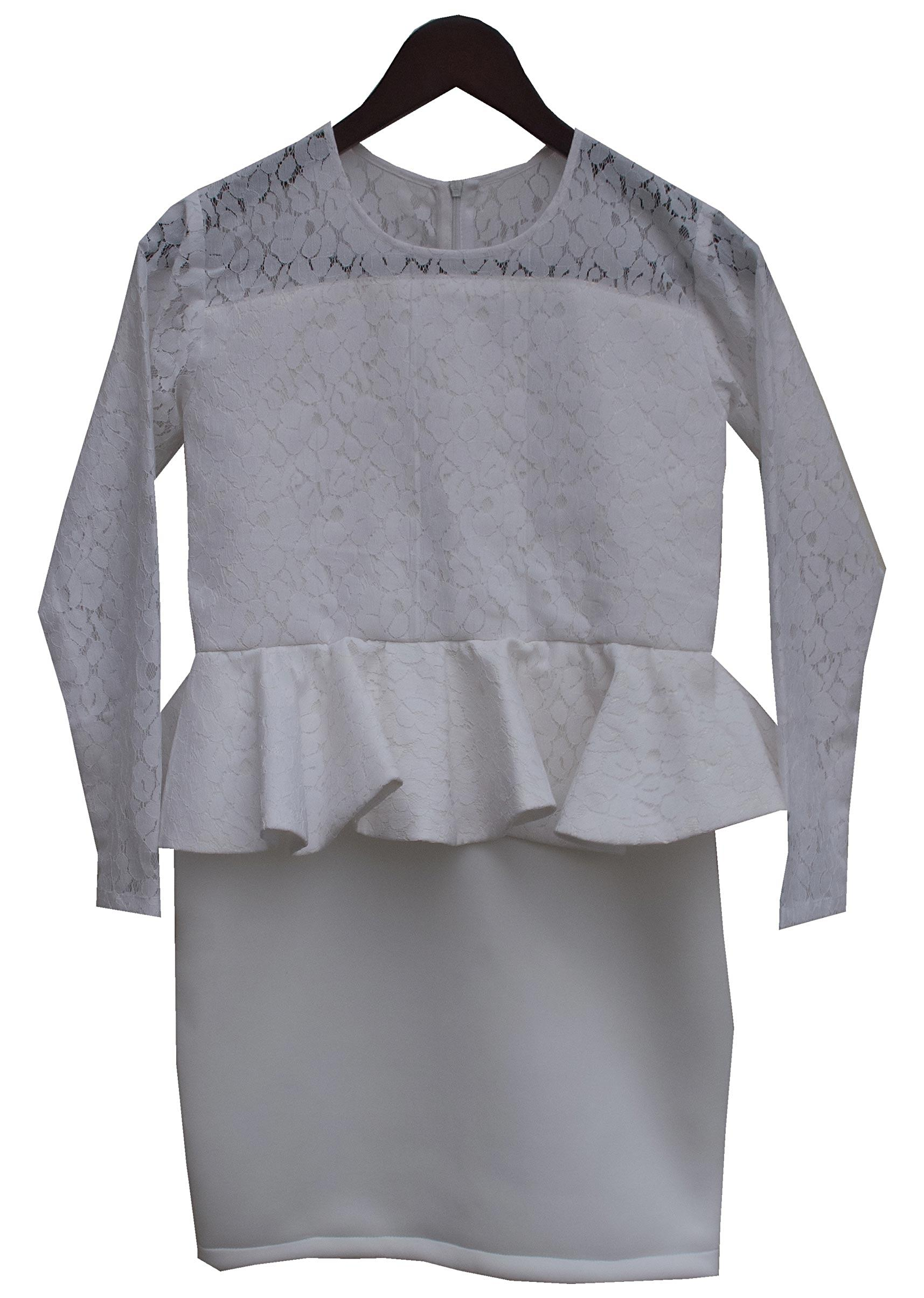 dbbaf674699 Lace Fabric Peplum Top with attached Skirt by Fayon Kids