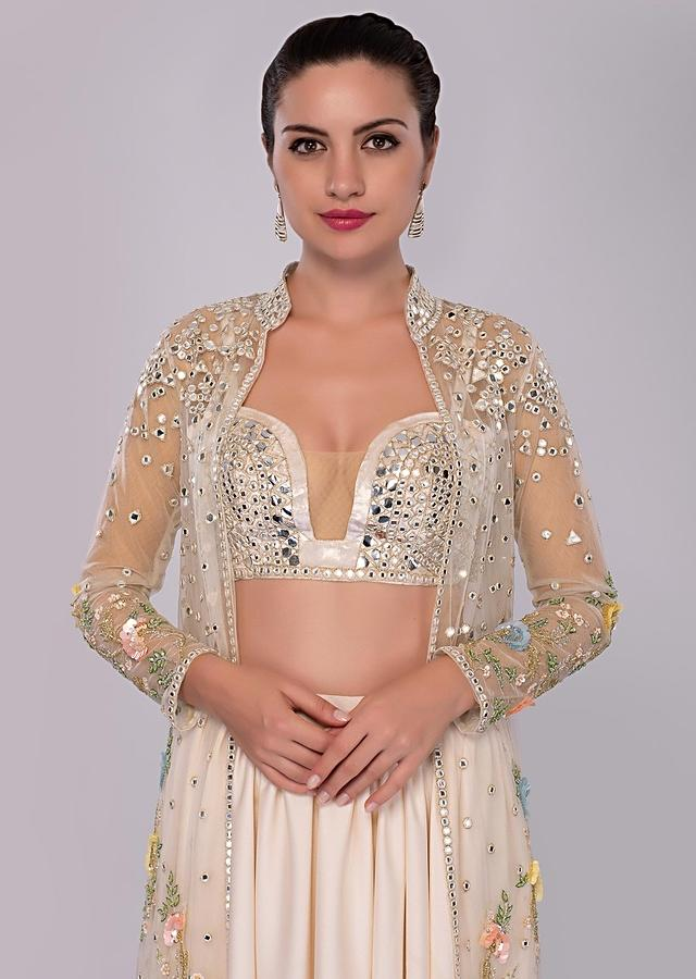 Lace Pink Pleated Skirt And Matching Bustier Paired With Long Embroidered Net Jacket Online - Kalki Fashion
