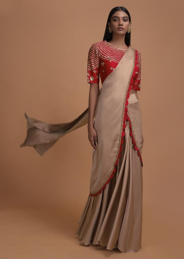 Latte Beige Ready Pleated Saree In Milano With Red Embroidered Blouse Online - Kalki Fashion