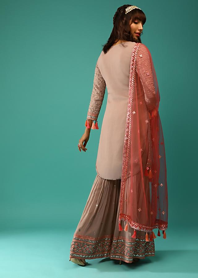 Latte Brown Sharara Suit In Georgette With Lucknowi Jaal Along With Multicolored Mirror Abla And Tassel Detailing Online - Kalki Fashion