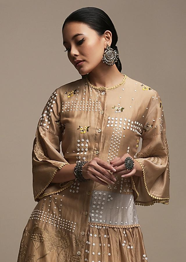 Latte Brown Tunic In Cotton With Frill On The Side And Adorned With Flower Sequins And Thread Work Online - Kalki Fashion