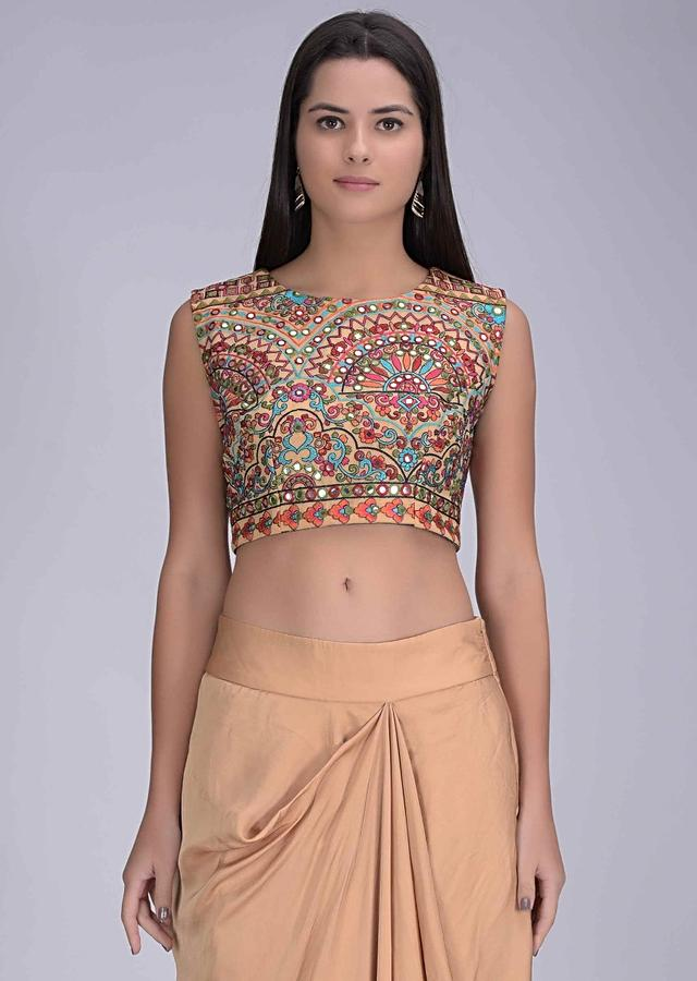 Latte Yellow Skirt In Satin Silk With Embellished Crop Top And Jacket Online - Kalki Fashion