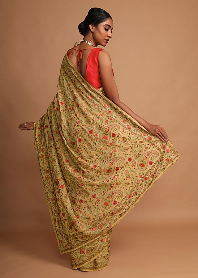 Latte Beige Saree In Georgette With Kashmiri Embroidery In Paisley And Floral Jaal Online - Kalki Fashion