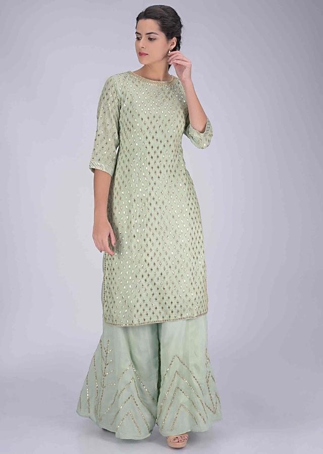 Laurel green cotton suit set with palazzo bottoms and chiffon dupatta only on Kalki