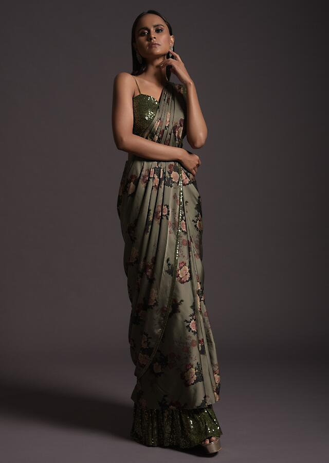 Laurel Green Ready Pleated Saree In Milano Satin With Floral Print And Sequin Frill On The Hem Online - Kalki Fashion