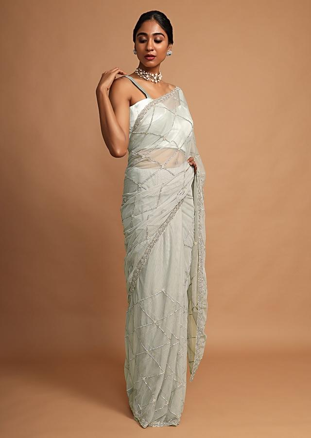 Laurel Green Saree In Net With Stone And Moti Embroidered Checks And Floral Motifs Online - Kalki Fashion