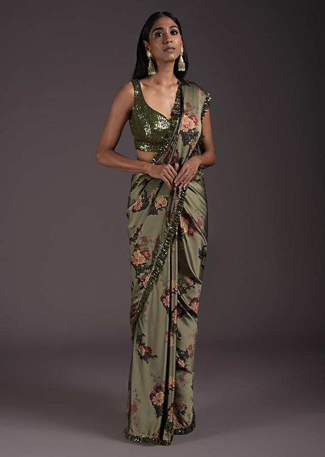Laurel Green Saree In Satin With Floral Print And Sequins Blouse With Front Cut Out Online - Kalki Fashion