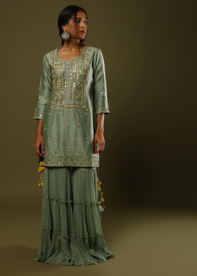 Laurel Green Sharara Suit In Cotton Adorned In Mirror, Thread And Zari Embroidery And Printed Dupatta Online - Kalki Fashion