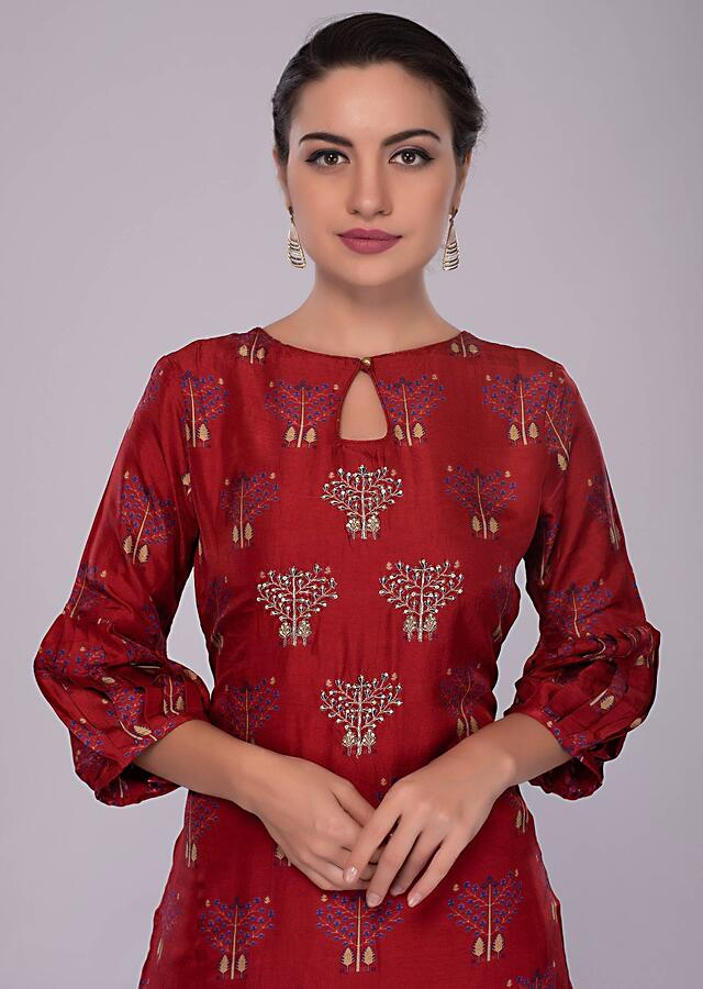 Lava Red Sharara Suit In Cotton Silk With Print And Embroidered Butti Online - Kalki Fashion