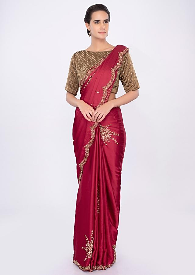 Lava Red Satin Saree With Embroidered Butti Online - Kalki Fashion