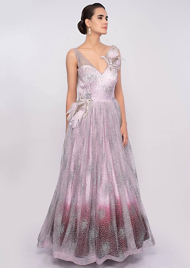 Lavender And Maroon Gown In Shaded Shimmer Net Online - Kalki Fashion