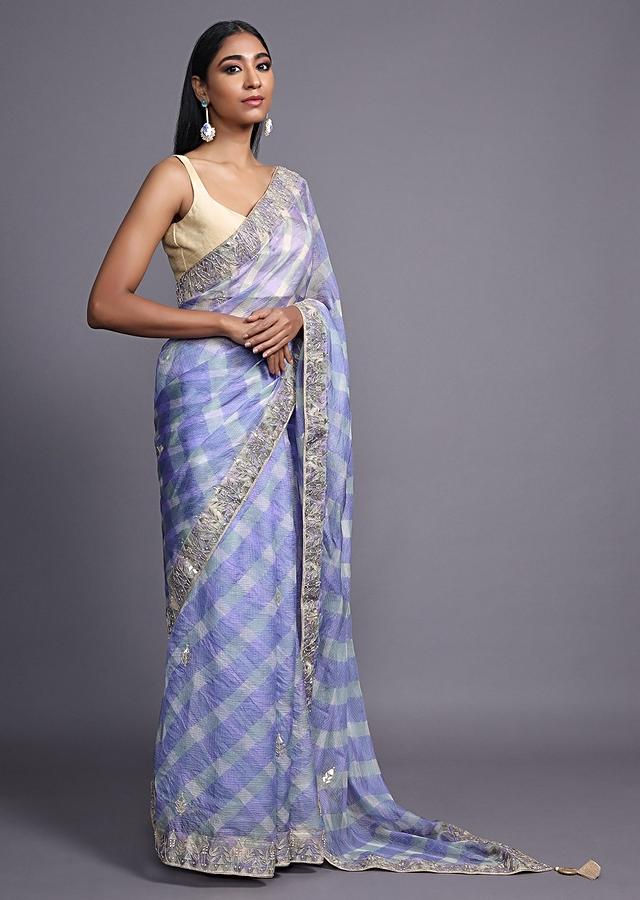 Lavender Blue Saree With Shibori Print And Gotta Patti Embroidered Floral Buttis And Border Online - Kalki Fashion