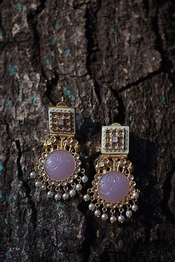 Lavender Carved Stone Earrings In With Elephant Motifs, Dangling Pearls And Kundan Work Kohar By Kanika