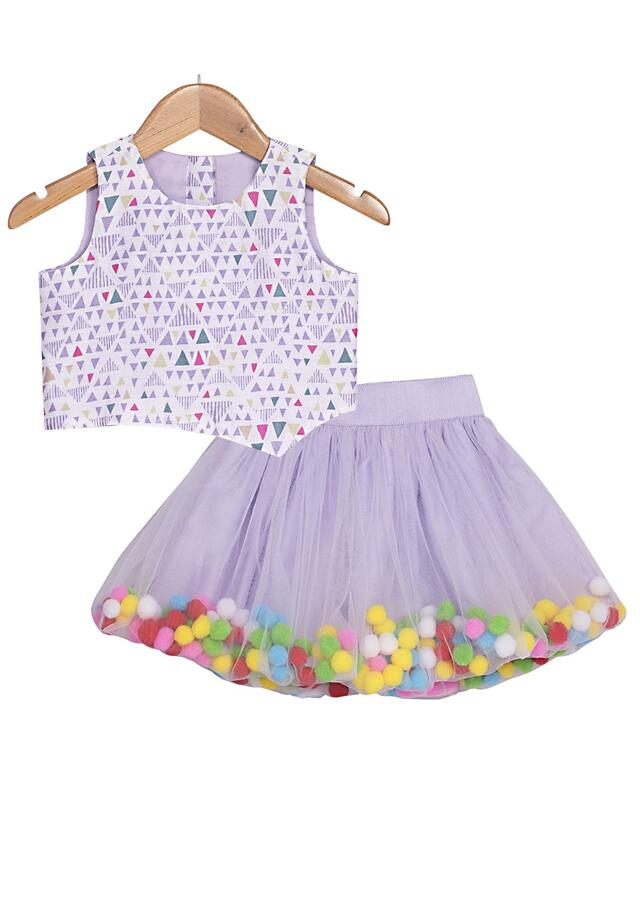 Lavender Crop Top And Baloon Skirt With Colorful Pom-Poms Online - Free Sparrow