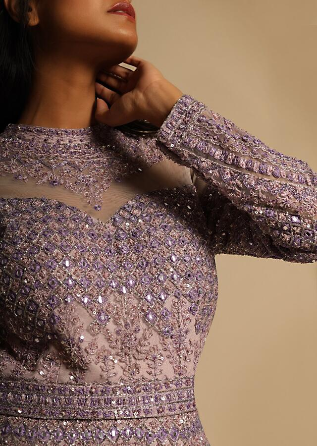 Lavender Gown In Net Heavily Embroidered Using Sequins, Resham, And Cut Dana Work In Intricate Moroccan Kali Design Online - Kalki Fashion