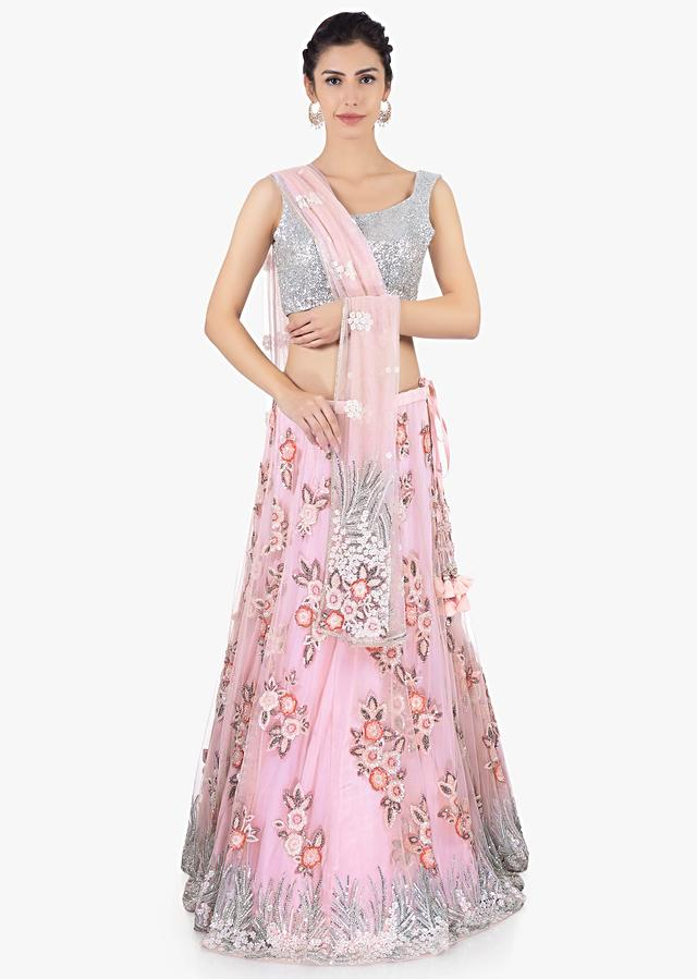 Lavender Lehenga Set In Net With Sequins And Cut Dana Embroidery Online - Kalki Fashion