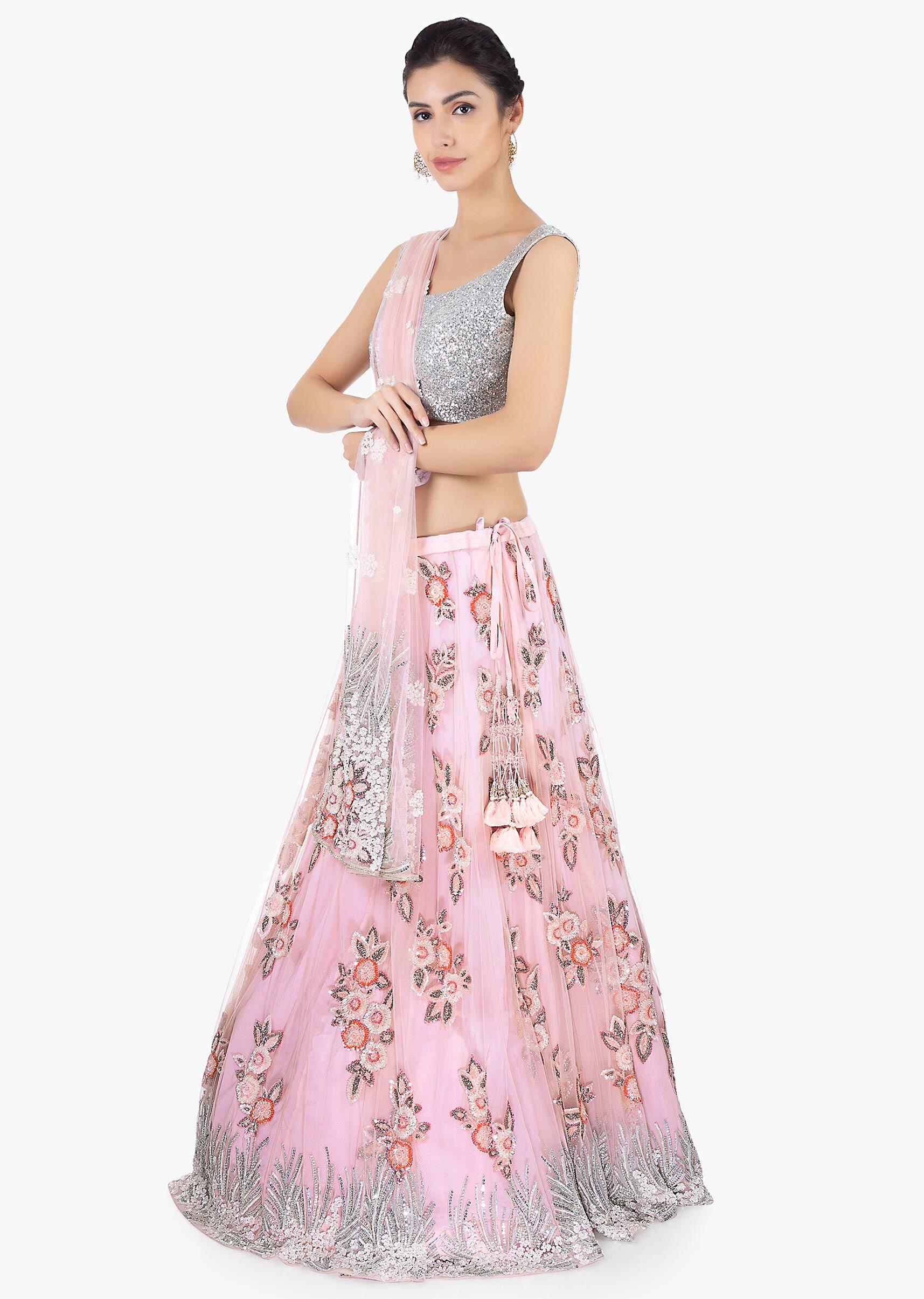 672a7e757a Lavender net lehenga set in sequins and cut dana embroidery only on Kalki