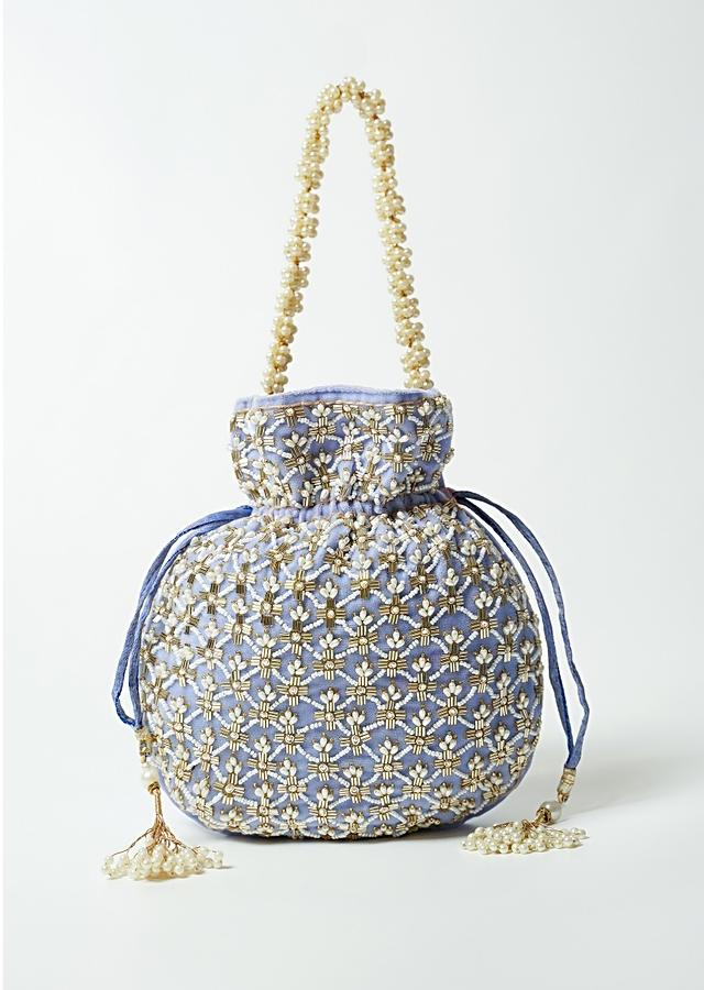 Lavender Potli Bag In Velvet With Cut Dana And Beads Embroidered Jaal Design By Shubham