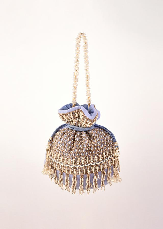 Lavender Potli In Velvet Heavily Embroidered With Beads And Moti Work In Scalloped And Tassel Design By Shubham