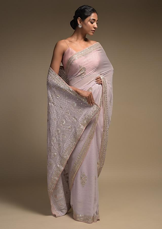 Lavender Saree In Georgette With Lucknowi Thread Embroidered Paisley Pattern On The Pallu Online - Kalki Fashion