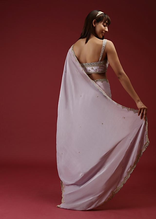 Lavender Saree, Crop Top And Belt Set With Multi Colored Sequins And Thread Embroidery Online - Kalki Fashion