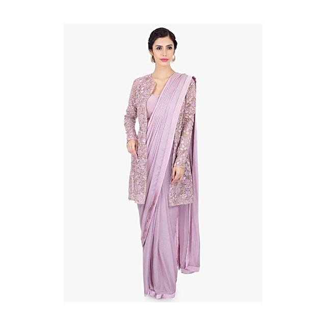 Lavender Pre Stitched Saree In Shimmer Chiffon Paired With A Long Embroidered Net Jacket Online - Kalki Fashion
