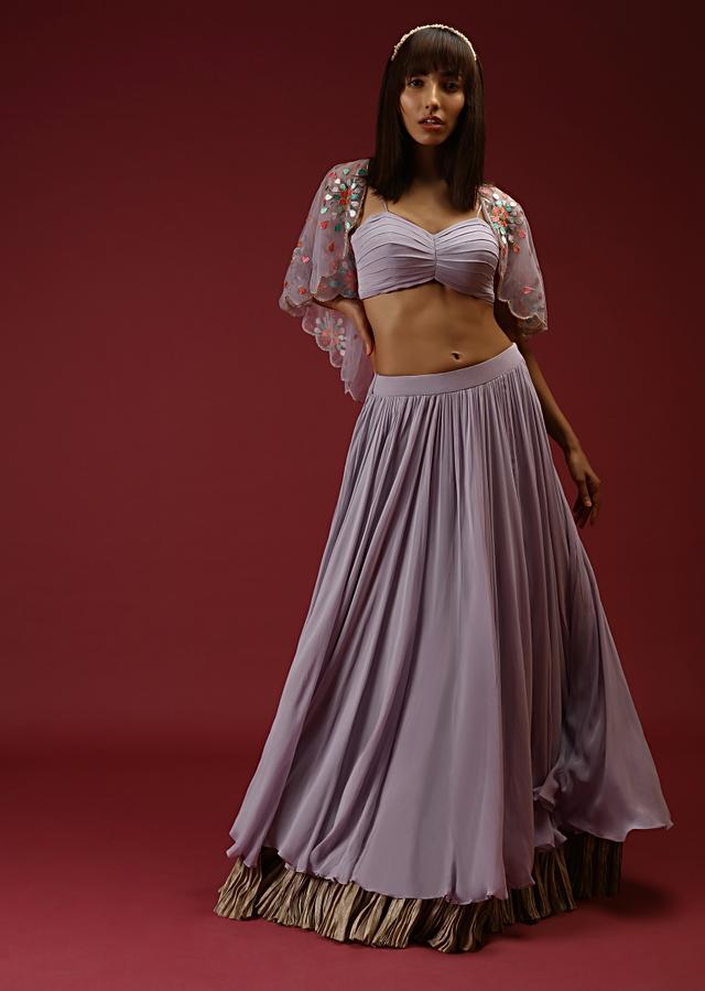 Lavender Skirt And Crop Top Set With Pleat Detailing And A Multi Colored Resham Embroidered Short Cape Online - Kalki Fashion