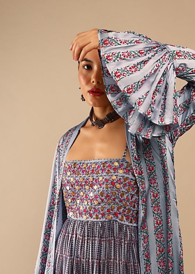 Lavender Tunic And Ruffle Jacket Set In Cotton With Floral Print And Resham Embroidery Online - Kalki Fashion