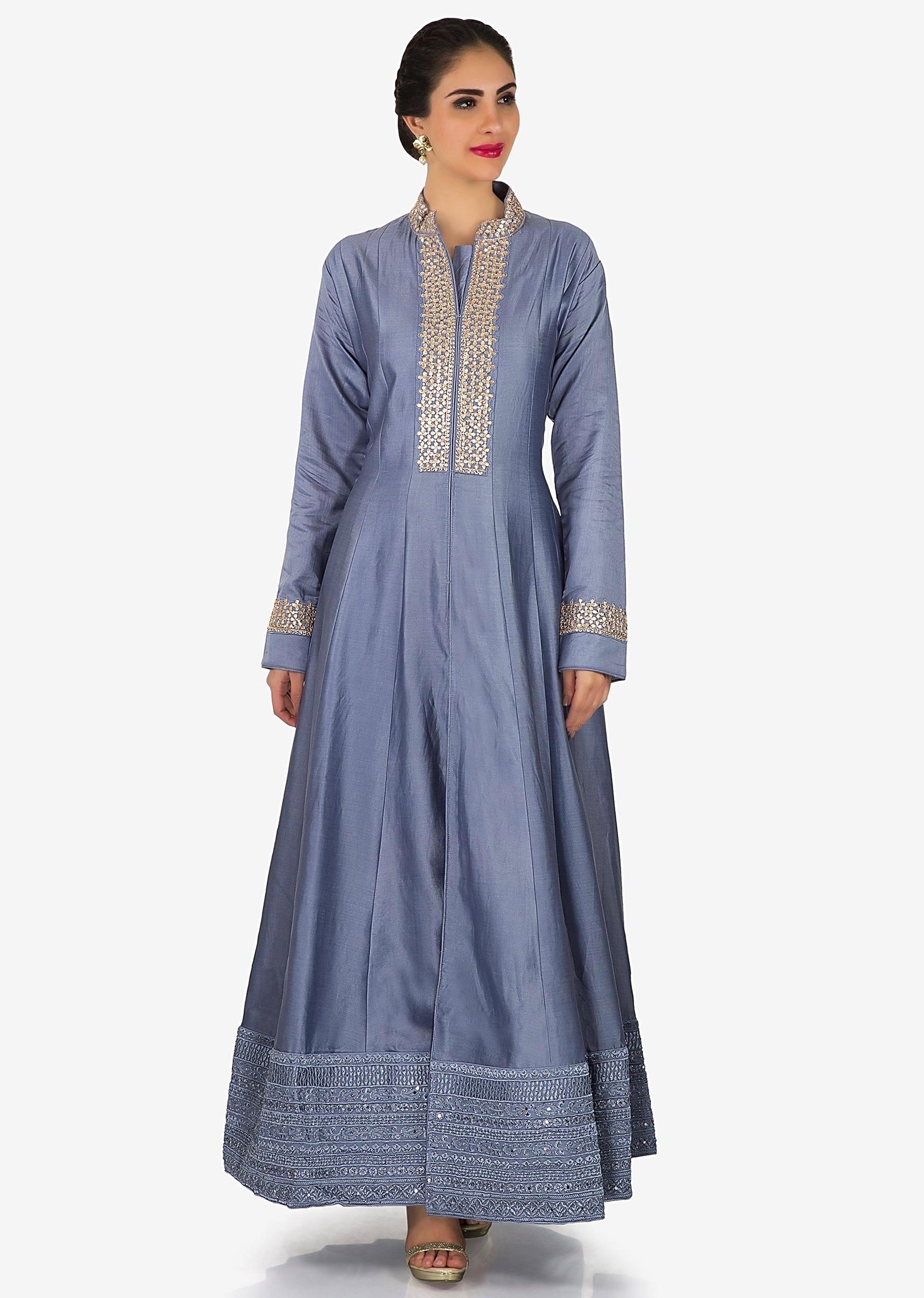 634e0a0275 Lavender blue anarkali suit in silk with embroidered placket only on KalkiMore  Detail