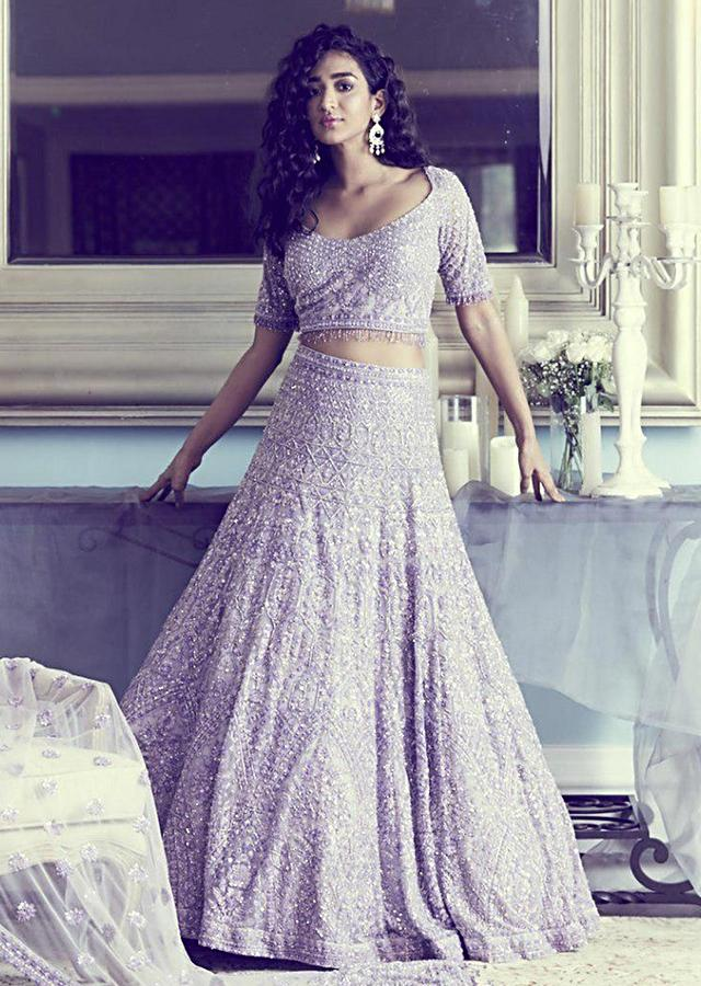 Lavender Lehenga Choli In Embellished Net with Jaal Embroidery In Ethnic Motifs Online - Kalki Fashion