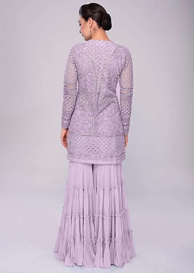 Lavender Sharara Suit In Embroidered Net With Self Resham Jaal Embroidery Online - Kalki Fashion