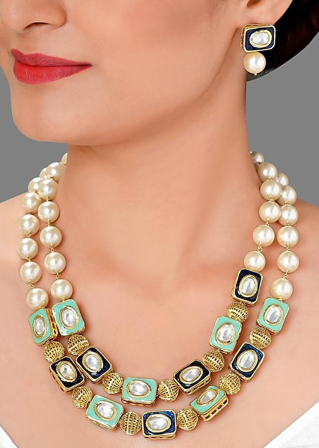 Layered Necklace Set Made With Shell Pearl, Minakari And Kundan Online - Joules By Radhika