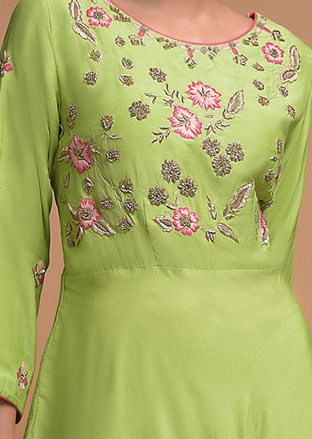 Leaf Green Anarkali Suit In Cotton With Thread And Zardozi Embroidery Online - Kalki Fashion