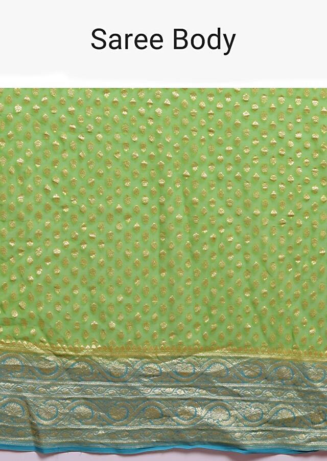 Leaf Green Saree In Georgette With Weaved Buttis And Ocean Green Pallu And Border Online - Kalki Fashion